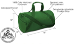 Recycled duffel bags